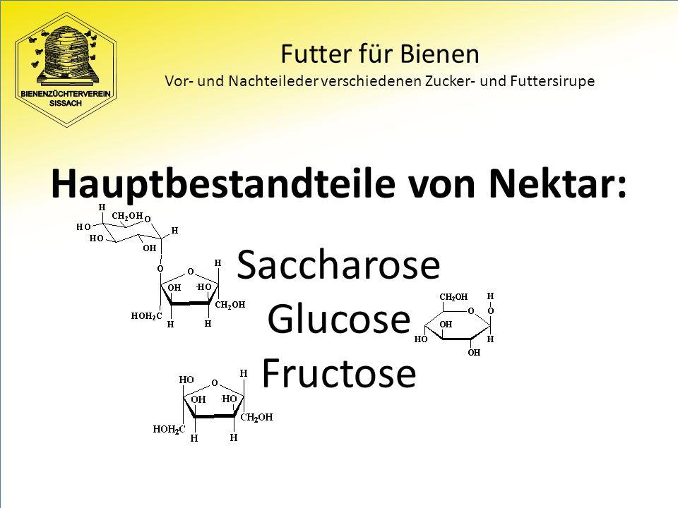 Futter für Bienen Vor- und Nachteileder verschiedenen Zucker- und Futtersirupe Hauptbestandteile von Nektar: Saccharose Glucose Fructose