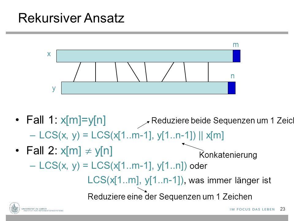 Rekursiver Ansatz Fall 1: x[m]=y[n] –LCS(x, y) = LCS(x[1..m-1], y[1..n-1]) || x[m] Fall 2: x[m]  y[n] –LCS(x, y) = LCS(x[1..m-1], y[1..n]) oder LCS(x[1..m], y[1..n-1]), was immer länger ist x y m n Reduziere beide Sequenzen um 1 Zeichen Reduziere eine der Sequenzen um 1 Zeichen Konkatenierung 23