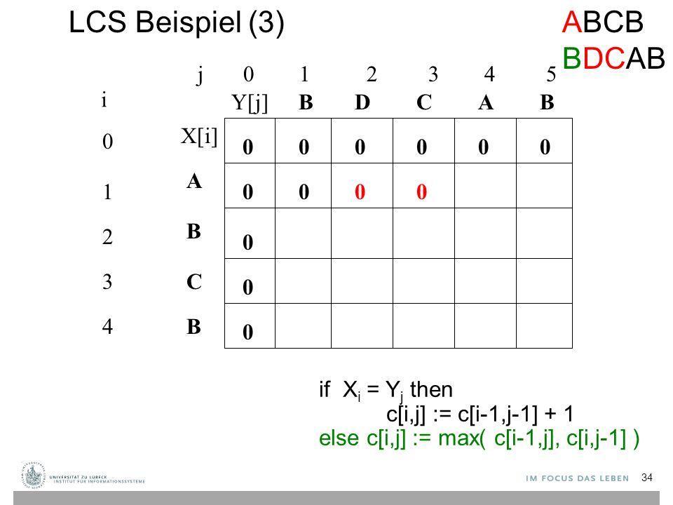 LCS Beispiel (3) j 0 1 2 3 4 5 0 1 2 3 4 i A B C B BBACD 0 0 00000 0 0 0 if X i = Y j then c[i,j] := c[i-1,j-1] + 1 else c[i,j] := max( c[i-1,j], c[i,j-1] ) 000 ABCB BDCAB X[i] Y[j] 34