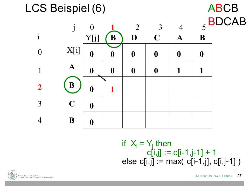 LCS Beispiel (6) j 0 1 2 3 4 5 0 1 2 3 4 i A B C B BBACD 0 0 00000 0 0 0 if X i = Y j then c[i,j] := c[i-1,j-1] + 1 else c[i,j] := max( c[i-1,j], c[i,j-1] ) 00101 1 ABCB BDCAB X[i] Y[j] 37