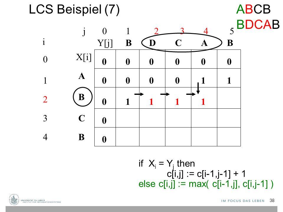 LCS Beispiel (7) j 0 1 2 3 4 5 0 1 2 3 4 i A B C B BBACD 0 0 00000 0 0 0 if X i = Y j then c[i,j] := c[i-1,j-1] + 1 else c[i,j] := max( c[i-1,j], c[i,j-1] ) 10001 1111 ABCB BDCAB X[i] Y[j] 38