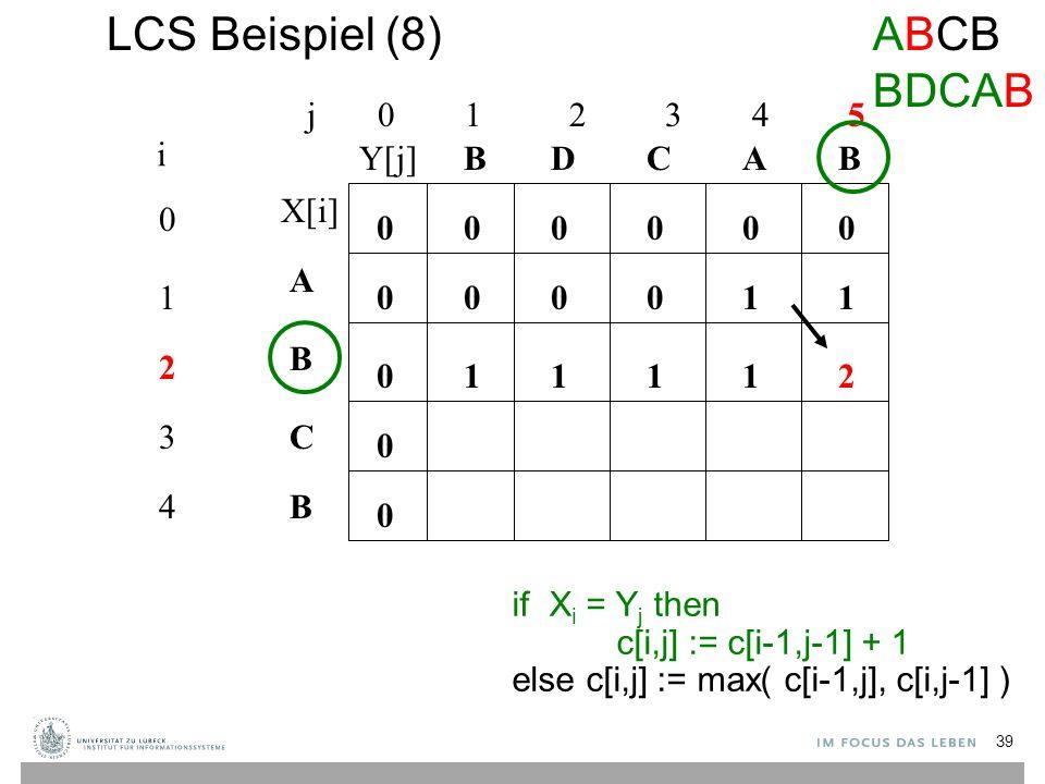 LCS Beispiel (8) j 0 1 2 3 4 5 0 1 2 3 4 i A B C B BBACD 0 0 00000 0 0 0 if X i = Y j then c[i,j] := c[i-1,j-1] + 1 else c[i,j] := max( c[i-1,j], c[i,j-1] ) 10001 11112 ABCB BDCAB X[i] Y[j] 39