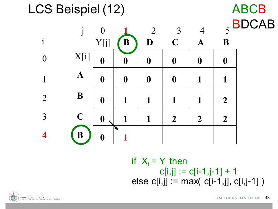 LCS Beispiel (12) j 0 1 2 3 4 5 0 1 2 3 4 i A B C B BBACD 0 0 00000 0 0 0 if X i = Y j then c[i,j] := c[i-1,j-1] + 1 else c[i,j] := max( c[i-1,j], c[i,j-1] ) 10001 1211 112 1 22 1 ABCB BDCAB X[i] Y[j] 43
