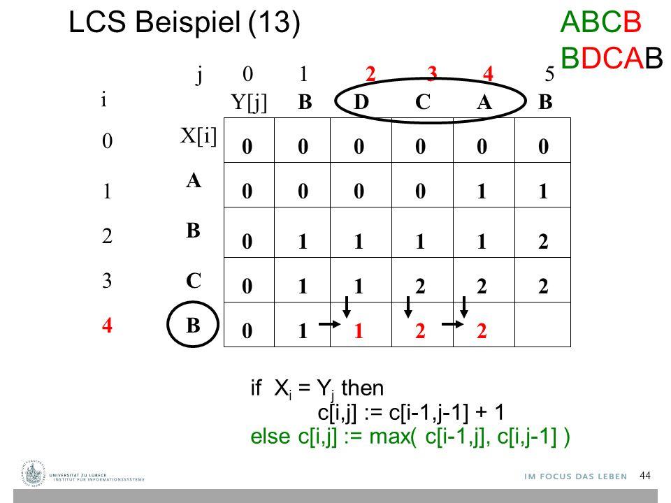 LCS Beispiel (13) j 0 1 2 3 4 5 0 1 2 3 4 i A B C B BBACD 0 0 00000 0 0 0 if X i = Y j then c[i,j] := c[i-1,j-1] + 1 else c[i,j] := max( c[i-1,j], c[i,j-1] ) 10001 1211 112 1 22 1122 ABCB BDCAB X[i] Y[j] 44