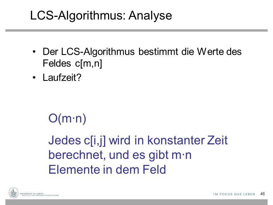 LCS-Algorithmus: Analyse Der LCS-Algorithmus bestimmt die Werte des Feldes c[m,n] Laufzeit.