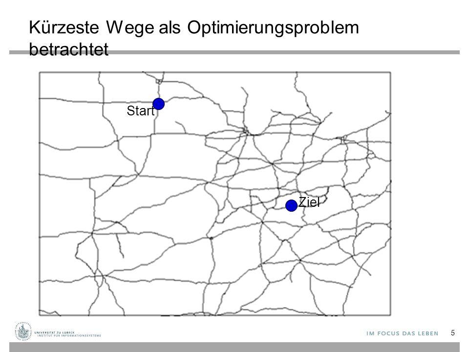 Kürzeste Wege als Optimierungsproblem betrachtet Start Ziel 5