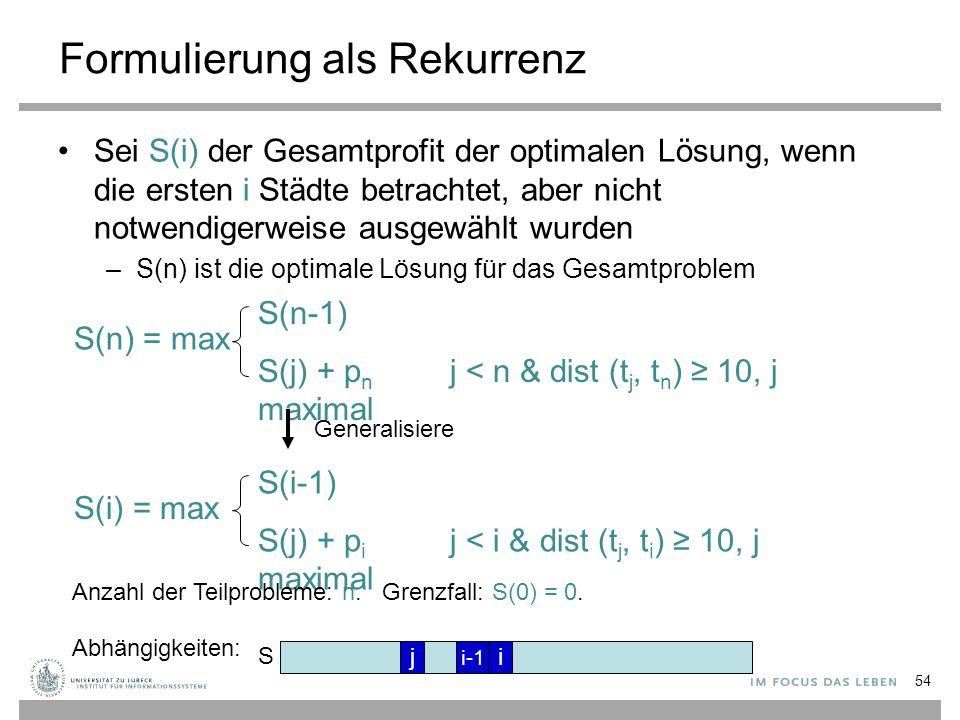 Formulierung als Rekurrenz Sei S(i) der Gesamtprofit der optimalen Lösung, wenn die ersten i Städte betrachtet, aber nicht notwendigerweise ausgewählt wurden –S(n) ist die optimale Lösung für das Gesamtproblem S(n-1) S(j) + p n j < n & dist (t j, t n ) ≥ 10, j maximal S(n) = max S(i-1) S(j) + p i j < i & dist (t j, t i ) ≥ 10, j maximal S(i) = max Generalisiere Anzahl der Teilprobleme: n.