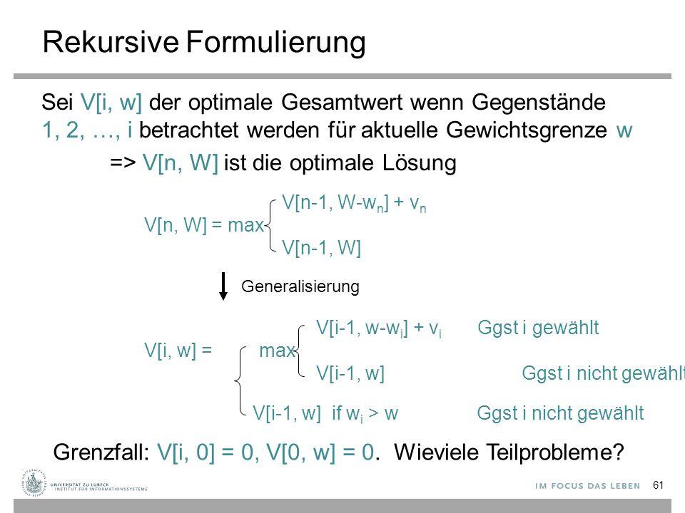 Rekursive Formulierung Sei V[i, w] der optimale Gesamtwert wenn Gegenstände 1, 2, …, i betrachtet werden für aktuelle Gewichtsgrenze w => V[n, W] ist die optimale Lösung V[n, W] = max V[n-1, W-w n ] + v n V[n-1, W] Generalisierung V[i, w] = max V[i-1, w-w i ] + v i Ggst i gewählt V[i-1, w] Ggst i nicht gewählt V[i-1, w] if w i > w Ggst i nicht gewählt Grenzfall: V[i, 0] = 0, V[0, w] = 0.