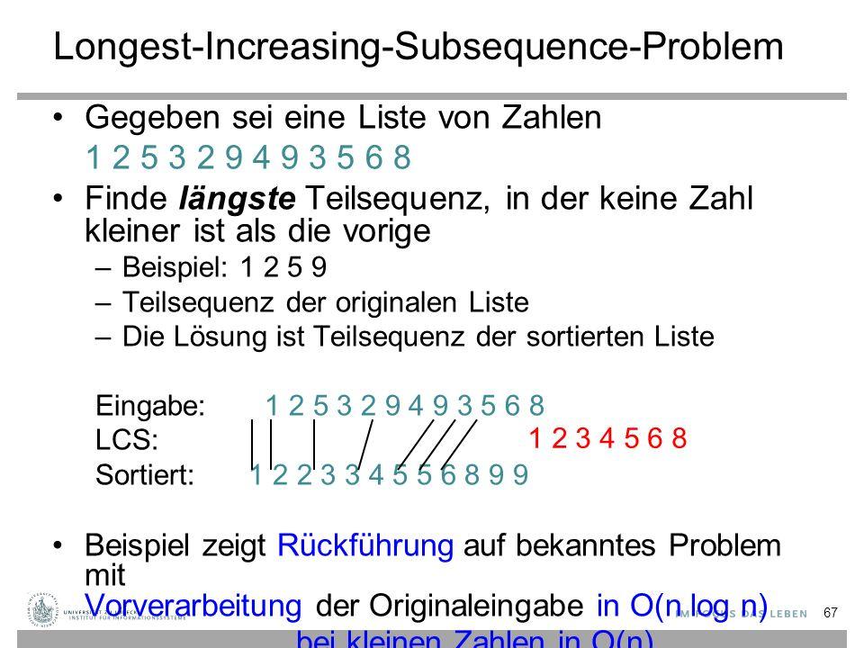 Longest-Increasing-Subsequence-Problem Gegeben sei eine Liste von Zahlen 1 2 5 3 2 9 4 9 3 5 6 8 Finde längste Teilsequenz, in der keine Zahl kleiner ist als die vorige –Beispiel: 1 2 5 9 –Teilsequenz der originalen Liste –Die Lösung ist Teilsequenz der sortierten Liste Eingabe: 1 2 5 3 2 9 4 9 3 5 6 8 LCS: Sortiert: 1 2 2 3 3 4 5 5 6 8 9 9 Beispiel zeigt Rückführung auf bekanntes Problem mit Vorverarbeitung der Originaleingabe in O(n log n) bei kleinen Zahlen in O(n) 1 2 3 4 5 6 8 67