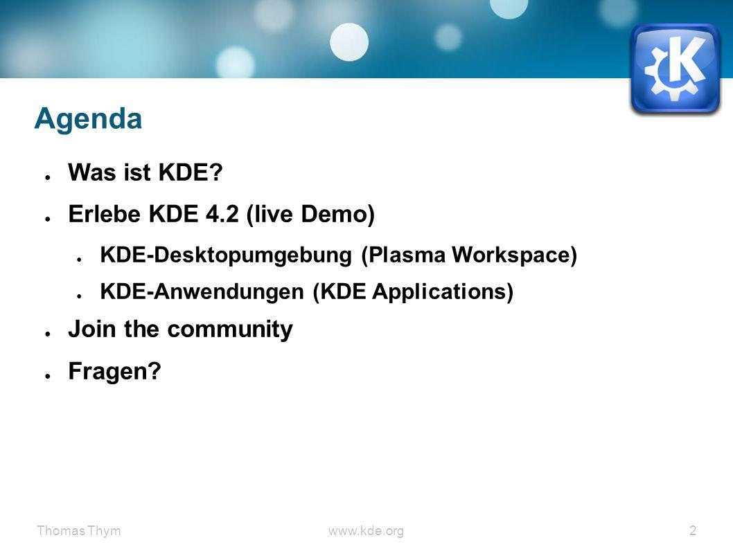 Thomas Thymwww.kde.org 13 Software Betriebssystemkern (z.