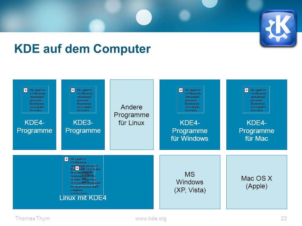 Thomas Thymwww.kde.org 22 KDE auf dem Computer Linux mit KDE4 KDE4- Programme für Windows MS Windows (XP, Vista) Mac OS X (Apple) KDE3- Programme Andere Programme für LinuxKDE4- Programme für Mac