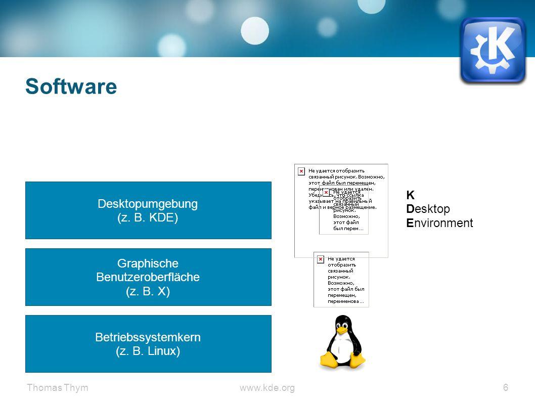 Thomas Thymwww.kde.org 37 KDE Workspace ● Desktop Effekte ● Ecken definieren und Geschwindigkeit SLOW ● Wobbly Windows ● Cube (Strg+Alt+Pfeiltasten / Strg+F11) ● Grid (oben rechts / Strg+F8) inkl.