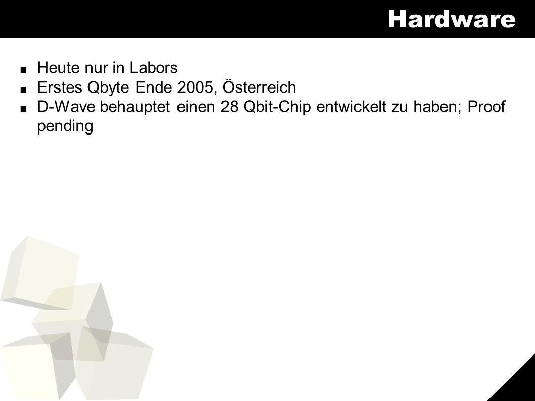 10 Hardware ■ Heute nur in Labors ■ Erstes Qbyte Ende 2005, Österreich ■ D-Wave behauptet einen 28 Qbit-Chip entwickelt zu haben; Proof pending