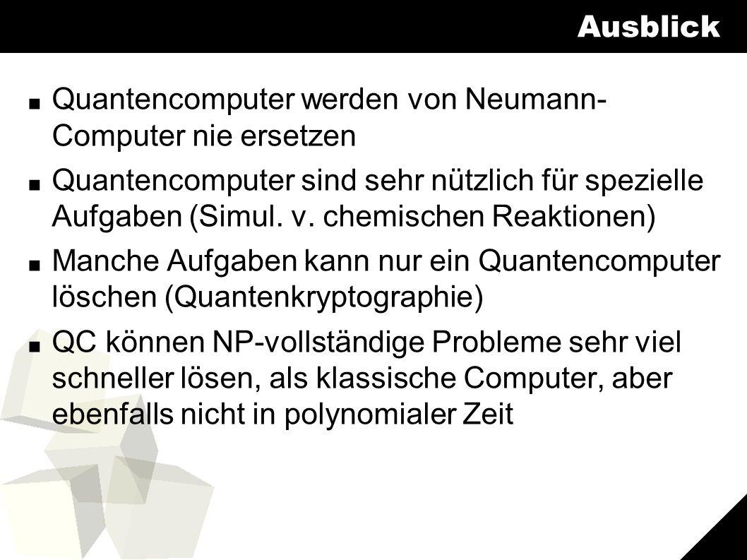 11 Ausblick ■ Quantencomputer werden von Neumann- Computer nie ersetzen ■ Quantencomputer sind sehr nützlich für spezielle Aufgaben (Simul.