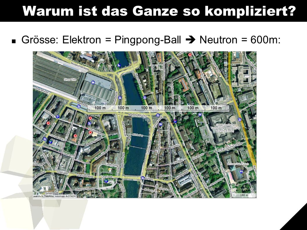 5 Warum ist das Ganze so kompliziert ■ Grösse: Elektron = Pingpong-Ball  Neutron = 600m: