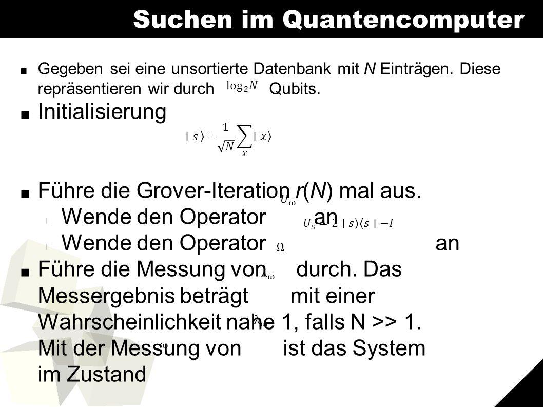 8 Suchen im Quantencomputer ■ Gegeben sei eine unsortierte Datenbank mit N Einträgen.