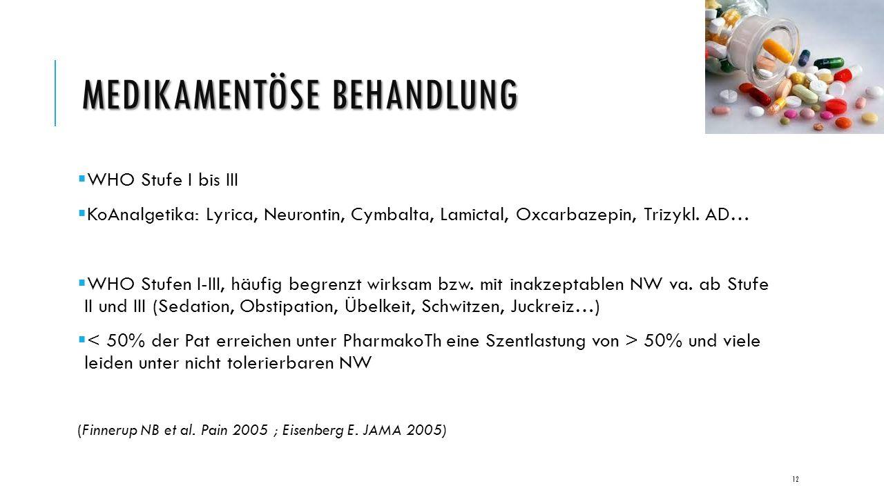 MEDIKAMENTÖSE BEHANDLUNG  WHO Stufe I bis III  KoAnalgetika: Lyrica, Neurontin, Cymbalta, Lamictal, Oxcarbazepin, Trizykl.