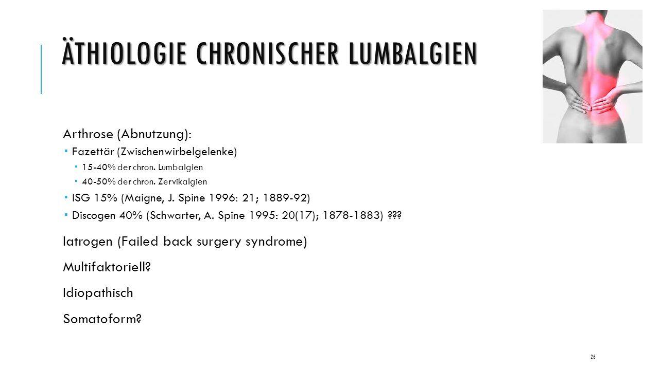 ÄTHIOLOGIE CHRONISCHER LUMBALGIEN Arthrose (Abnutzung):  Fazettär (Zwischenwirbelgelenke)  15-40% der chron.