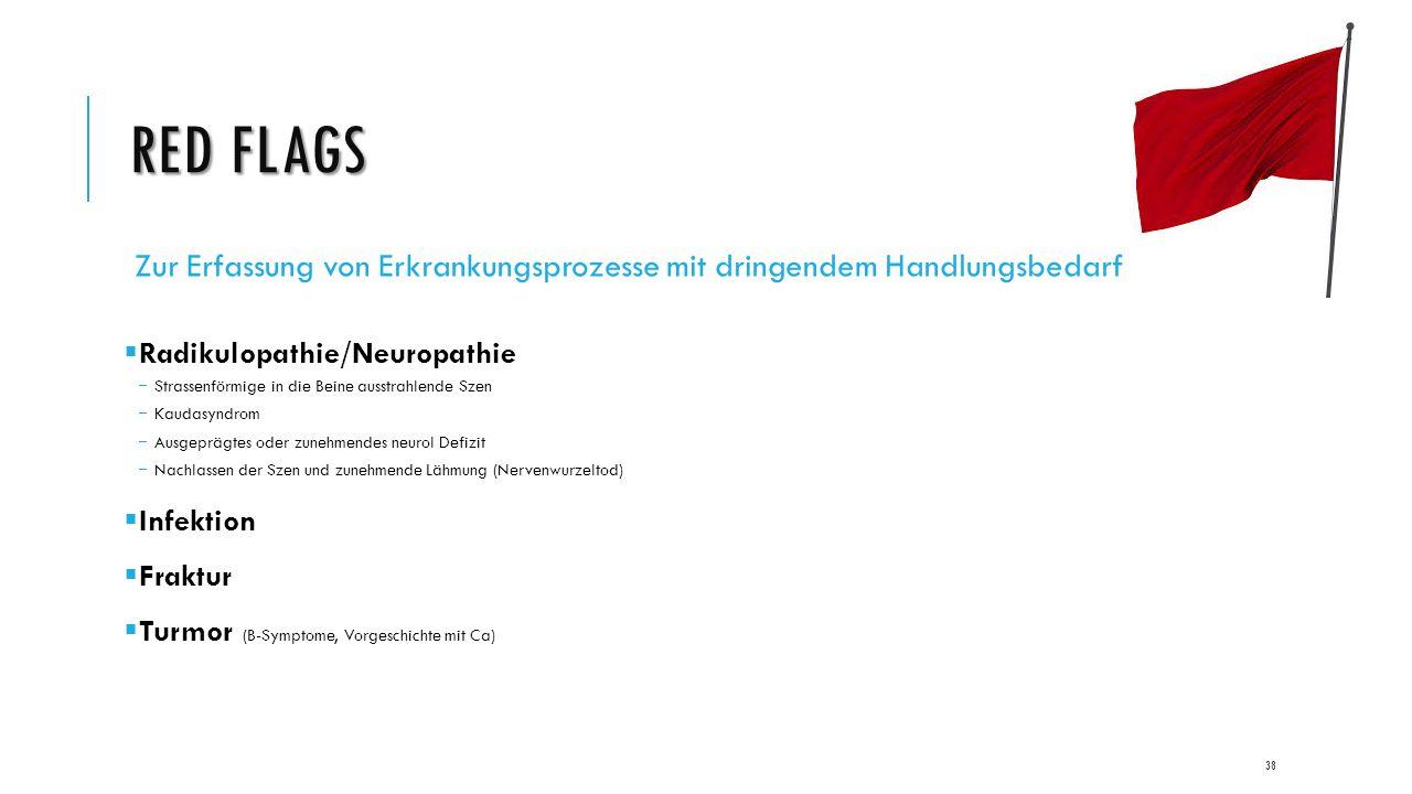 RED FLAGS Zur Erfassung von Erkrankungsprozesse mit dringendem Handlungsbedarf  Radikulopathie/Neuropathie  Strassenförmige in die Beine ausstrahlende Szen  Kaudasyndrom  Ausgeprägtes oder zunehmendes neurol Defizit  Nachlassen der Szen und zunehmende Lähmung (Nervenwurzeltod)  Infektion  Fraktur  Turmor (B-Symptome, Vorgeschichte mit Ca) 38