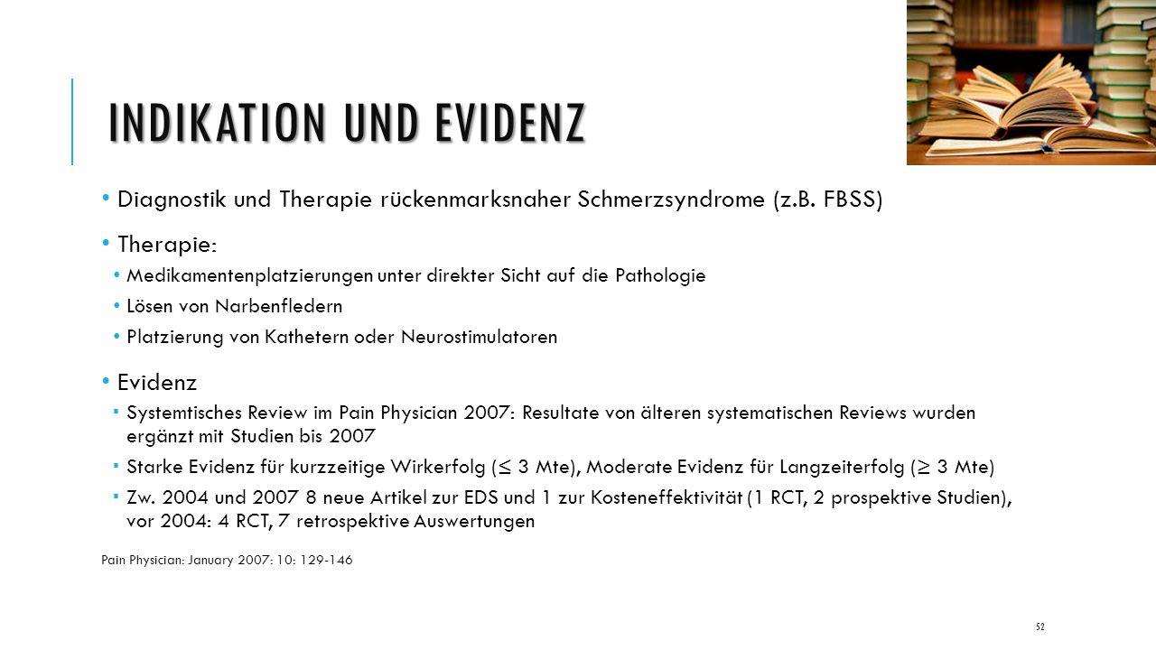 INDIKATION UND EVIDENZ Diagnostik und Therapie rückenmarksnaher Schmerzsyndrome (z.B.