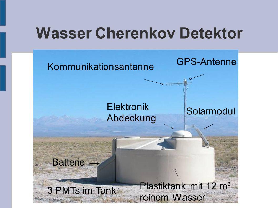 Wasser Cherenkov Detektor GPS-Antenne Kommunikationsantenne Solarmodul Plastiktank mit 12 m³ reinem Wasser Batterie Elektronik Abdeckung 3 PMTs im Tan