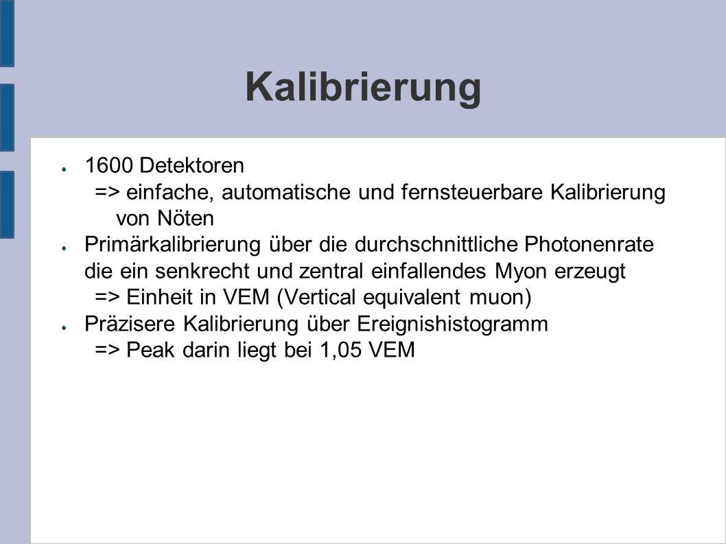Kalibrierung ● 1600 Detektoren => einfache, automatische und fernsteuerbare Kalibrierung von Nöten ● Primärkalibrierung über die durchschnittliche Pho
