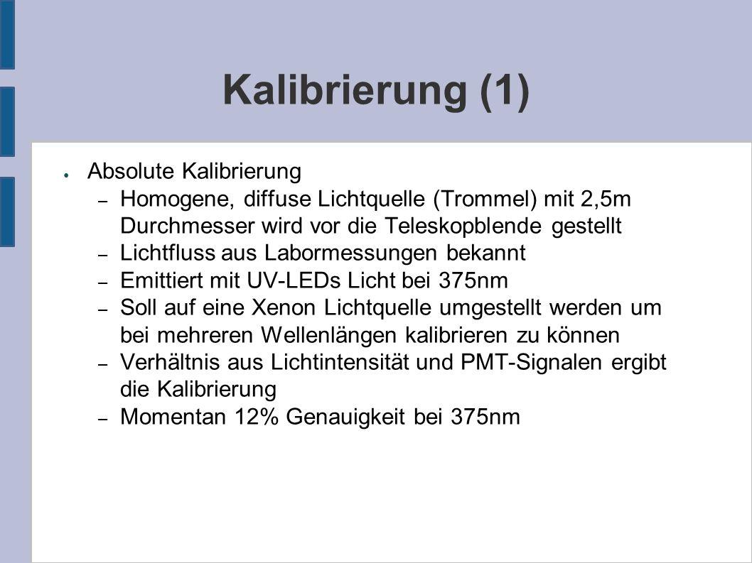 Kalibrierung (1) ● Absolute Kalibrierung – Homogene, diffuse Lichtquelle (Trommel) mit 2,5m Durchmesser wird vor die Teleskopblende gestellt – Lichtfluss aus Labormessungen bekannt – Emittiert mit UV-LEDs Licht bei 375nm – Soll auf eine Xenon Lichtquelle umgestellt werden um bei mehreren Wellenlängen kalibrieren zu können – Verhältnis aus Lichtintensität und PMT-Signalen ergibt die Kalibrierung – Momentan 12% Genauigkeit bei 375nm