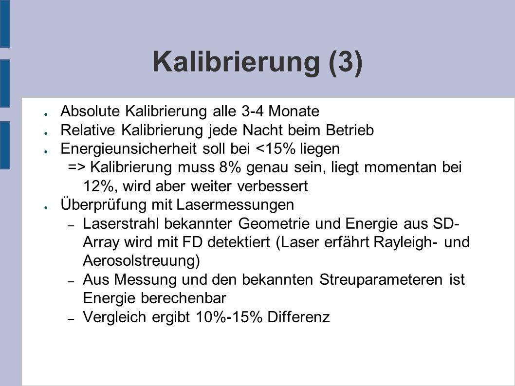 Kalibrierung (3) ● Absolute Kalibrierung alle 3-4 Monate ● Relative Kalibrierung jede Nacht beim Betrieb ● Energieunsicherheit soll bei <15% liegen =>