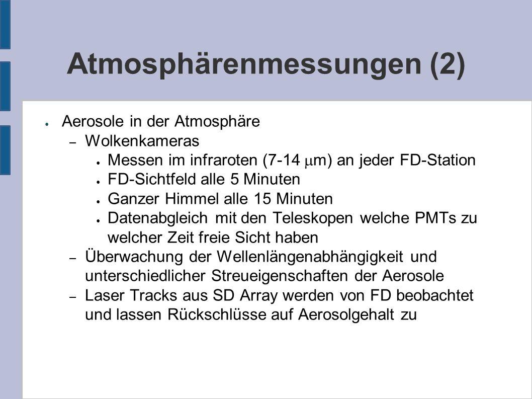 Atmosphärenmessungen (2) ● Aerosole in der Atmosphäre – Wolkenkameras ● Messen im infraroten (7-14  m) an jeder FD-Station ● FD-Sichtfeld alle 5 Minuten ● Ganzer Himmel alle 15 Minuten ● Datenabgleich mit den Teleskopen welche PMTs zu welcher Zeit freie Sicht haben – Überwachung der Wellenlängenabhängigkeit und unterschiedlicher Streueigenschaften der Aerosole – Laser Tracks aus SD Array werden von FD beobachtet und lassen Rückschlüsse auf Aerosolgehalt zu