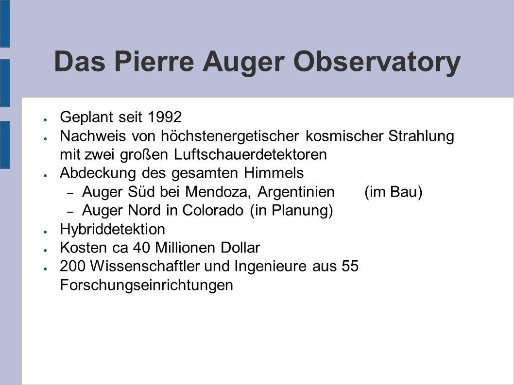 Das Pierre Auger Observatory ● Geplant seit 1992 ● Nachweis von höchstenergetischer kosmischer Strahlung mit zwei großen Luftschauerdetektoren ● Abdec