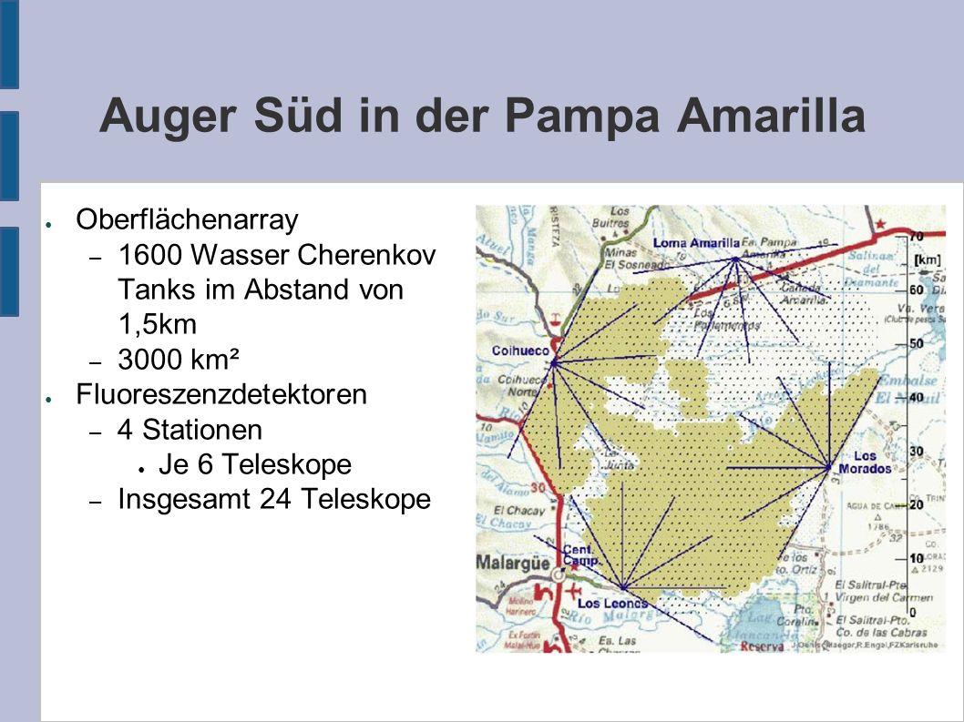 Auger Süd in der Pampa Amarilla ● Oberflächenarray – 1600 Wasser Cherenkov Tanks im Abstand von 1,5km – 3000 km² ● Fluoreszenzdetektoren – 4 Stationen