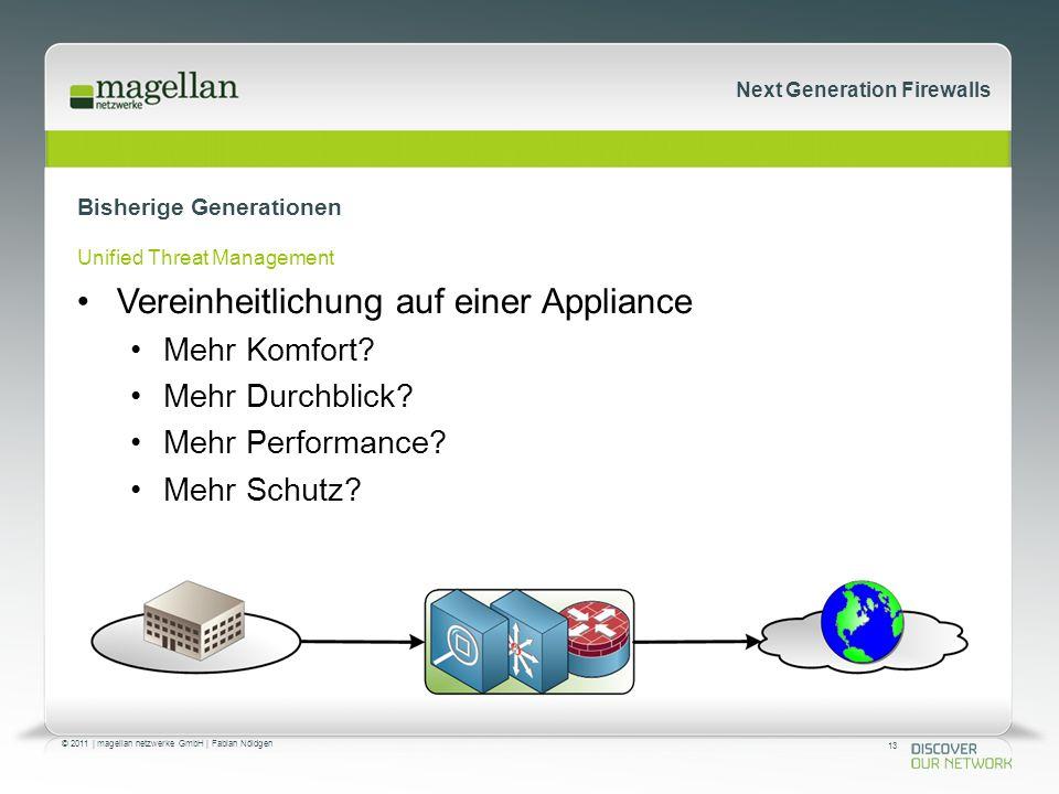 13 © 2011 | magellan netzwerke GmbH | Fabian Nöldgen Next Generation Firewalls Bisherige Generationen Unified Threat Management Vereinheitlichung auf einer Appliance Mehr Komfort.