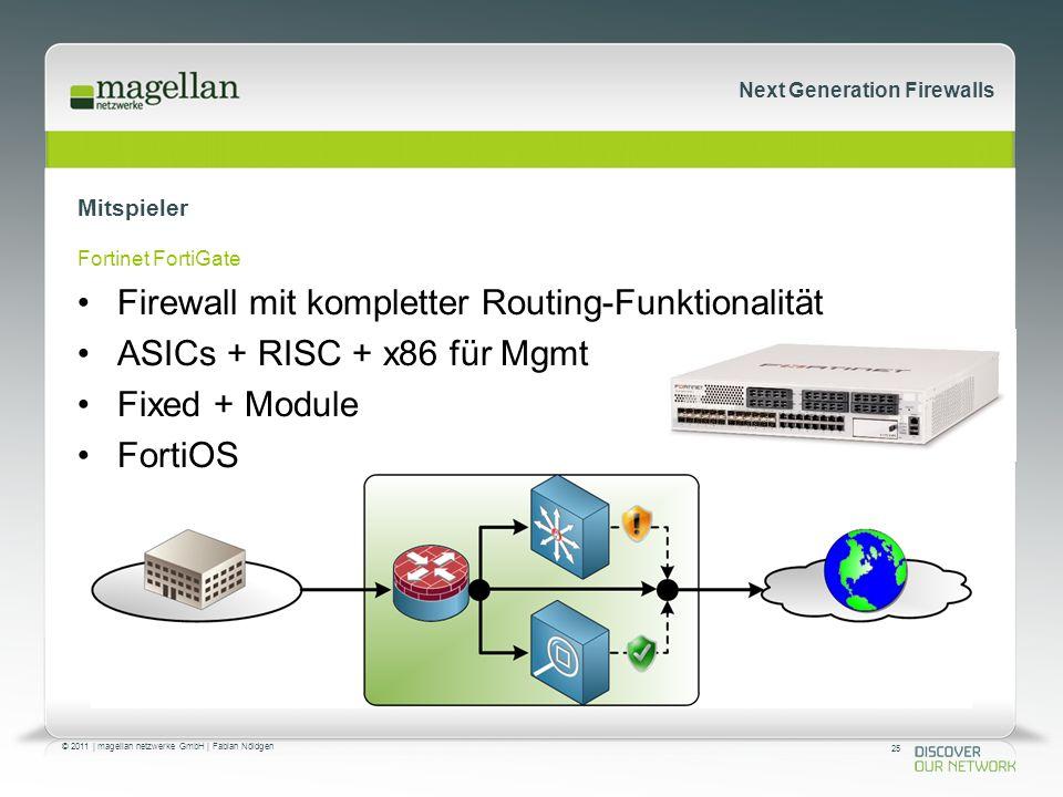 25 © 2011 | magellan netzwerke GmbH | Fabian Nöldgen Next Generation Firewalls Mitspieler Fortinet FortiGate Firewall mit kompletter Routing-Funktionalität ASICs + RISC + x86 für Mgmt Fixed + Module FortiOS