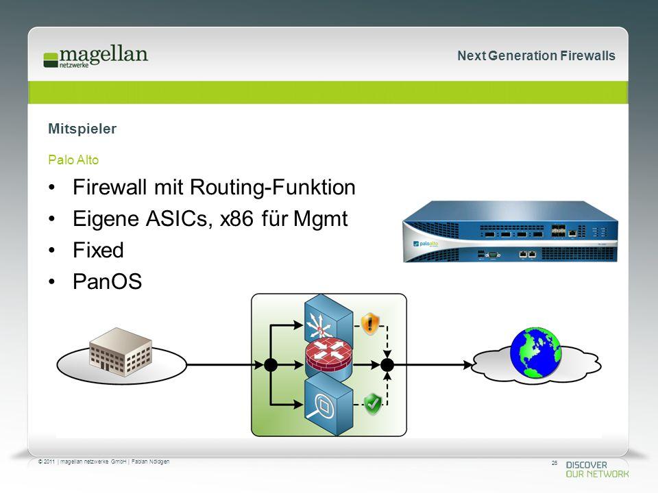 26 © 2011 | magellan netzwerke GmbH | Fabian Nöldgen Next Generation Firewalls Mitspieler Palo Alto Firewall mit Routing-Funktion Eigene ASICs, x86 für Mgmt Fixed PanOS