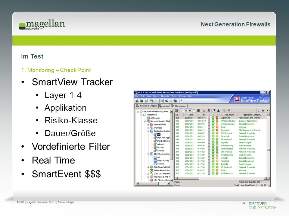 32 © 2011 | magellan netzwerke GmbH | Fabian Nöldgen Next Generation Firewalls Im Test 1. Monitoring – Check Point SmartView Tracker Layer 1-4 Applika