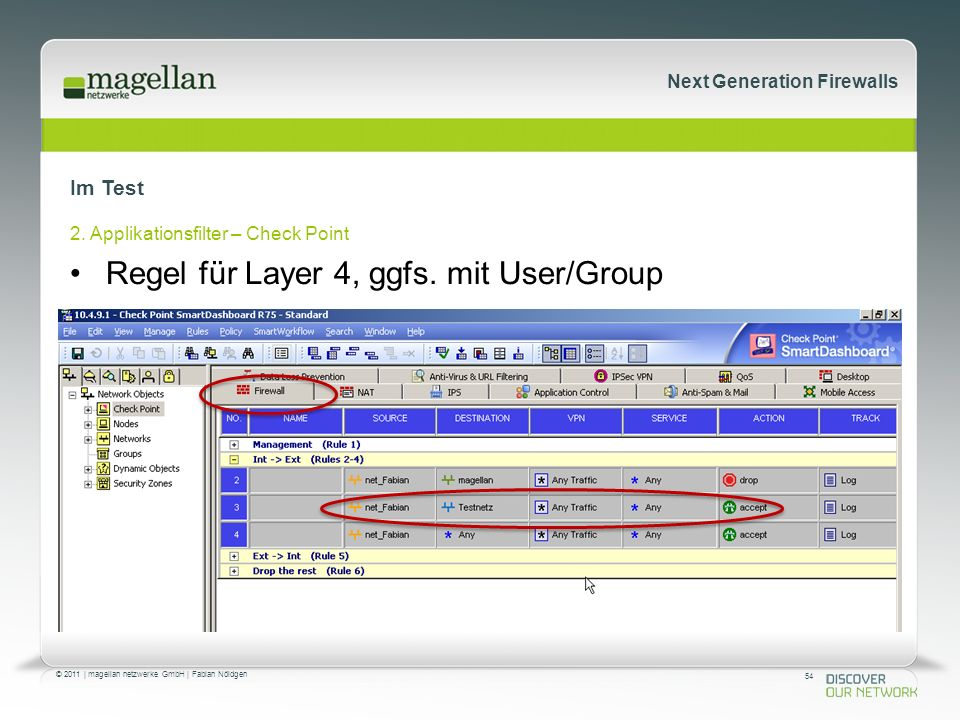 54 © 2011 | magellan netzwerke GmbH | Fabian Nöldgen Next Generation Firewalls Im Test 2. Applikationsfilter – Check Point Regel für Layer 4, ggfs. mi