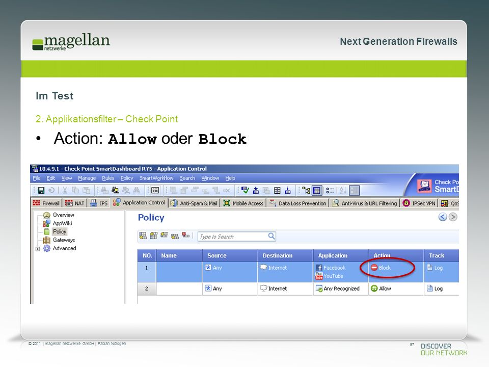 57 © 2011 | magellan netzwerke GmbH | Fabian Nöldgen Next Generation Firewalls Im Test 2. Applikationsfilter – Check Point Action: Allow oder Block