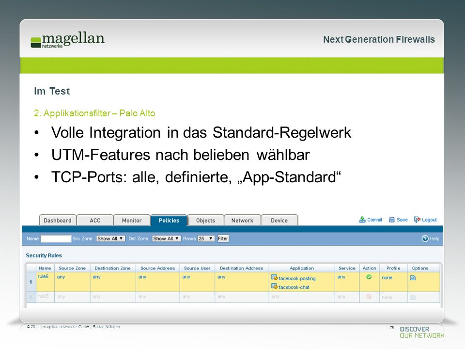 75 © 2011 | magellan netzwerke GmbH | Fabian Nöldgen Next Generation Firewalls Im Test 2.
