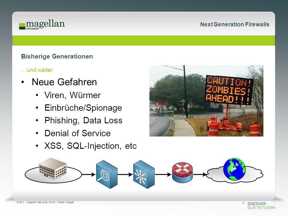 9 © 2011 | magellan netzwerke GmbH | Fabian Nöldgen Next Generation Firewalls Bisherige Generationen …und weiter Neue Gefahren Viren, Würmer Einbrüche/Spionage Phishing, Data Loss Denial of Service XSS, SQL-Injection, etc