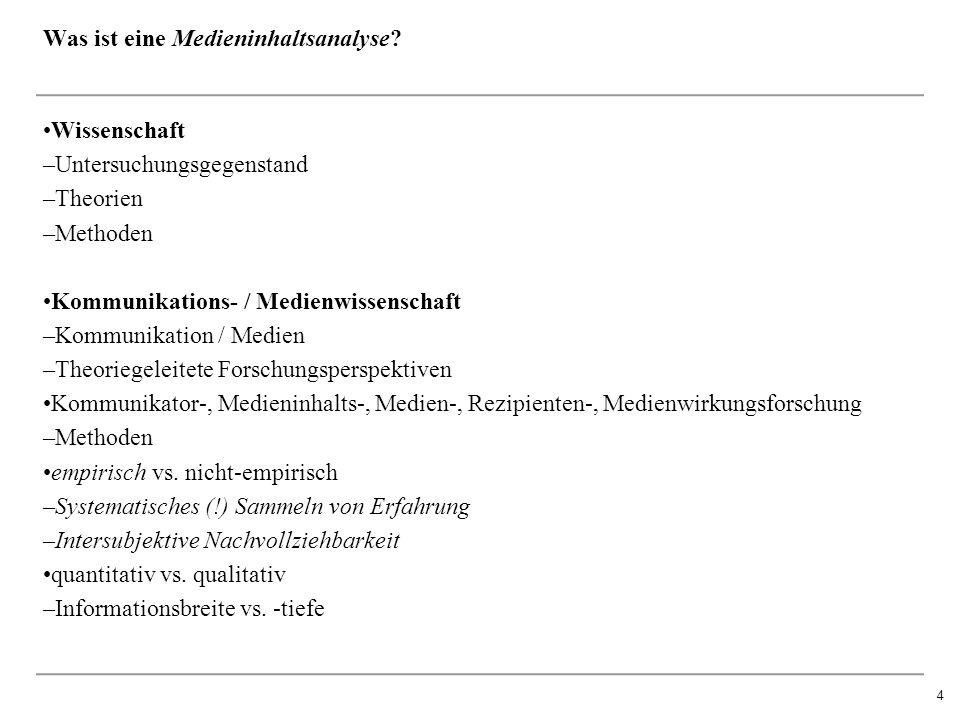 4 Wissenschaft –Untersuchungsgegenstand –Theorien –Methoden Kommunikations- / Medienwissenschaft –Kommunikation / Medien –Theoriegeleitete Forschungsperspektiven Kommunikator-, Medieninhalts-, Medien-, Rezipienten-, Medienwirkungsforschung –Methoden empirisch vs.