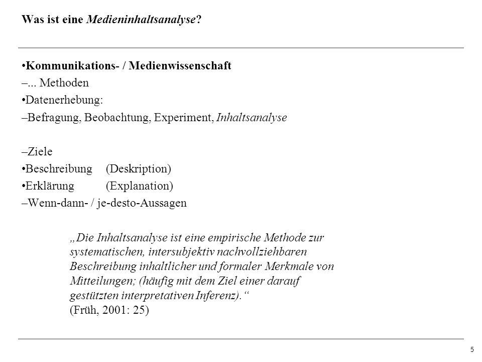5 Was ist eine Medieninhaltsanalyse. Kommunikations- / Medienwissenschaft –...