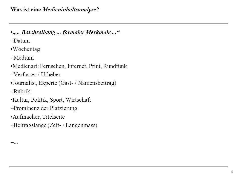 """6 Was ist eine Medieninhaltsanalyse. """"... Beschreibung..."""