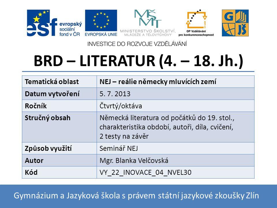 BRD – LITERATUR (4. – 18.