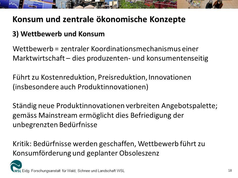Konsum und zentrale ökonomische Konzepte Eidg.
