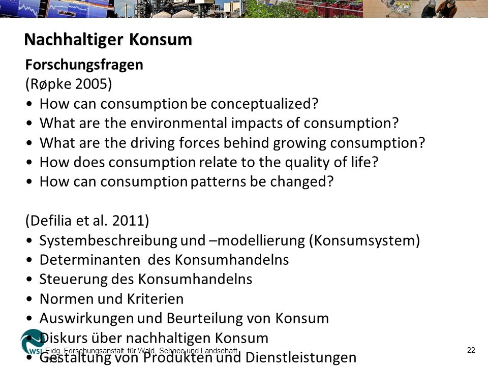 Nachhaltiger Konsum Forschungsfragen (Røpke 2005) How can consumption be conceptualized.