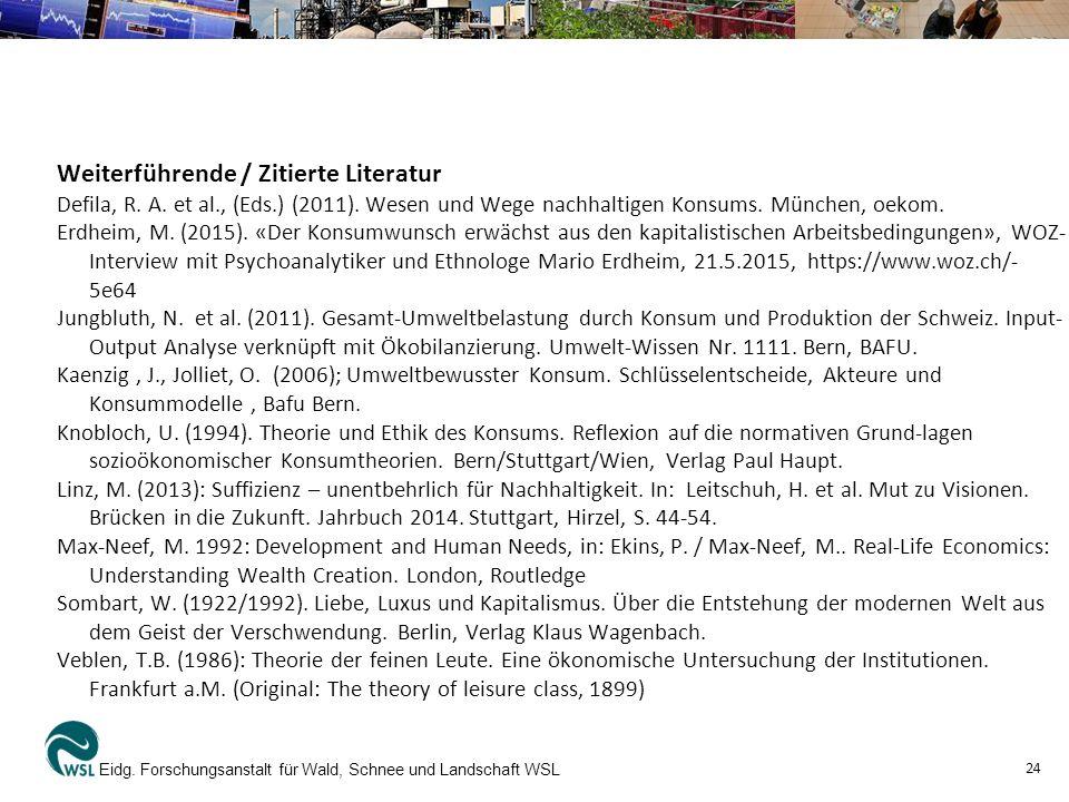 Weiterführende / Zitierte Literatur Defila, R. A.