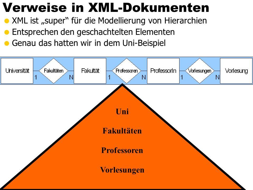 """Verweise in XML-Dokumenten  XML ist """"super für die Modellierung von Hierarchien  Entsprechen den geschachtelten Elementen  Genau das hatten wir in dem Uni-Beispiel Uni Fakultäten Professoren Vorlesungen"""
