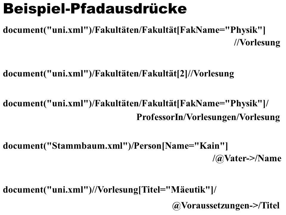 Beispiel-Pfadausdrücke document( uni.xml )/Fakultäten/Fakultät[FakName= Physik ] //Vorlesung document( uni.xml )/Fakultäten/Fakultät[2]//Vorlesung document( uni.xml )/Fakultäten/Fakultät[FakName= Physik ]/ ProfessorIn/Vorlesungen/Vorlesung document( Stammbaum.xml )/Person[Name= Kain ] /@Vater->/Name document( uni.xml )//Vorlesung[Titel= Mäeutik ]/ @Voraussetzungen->/Titel