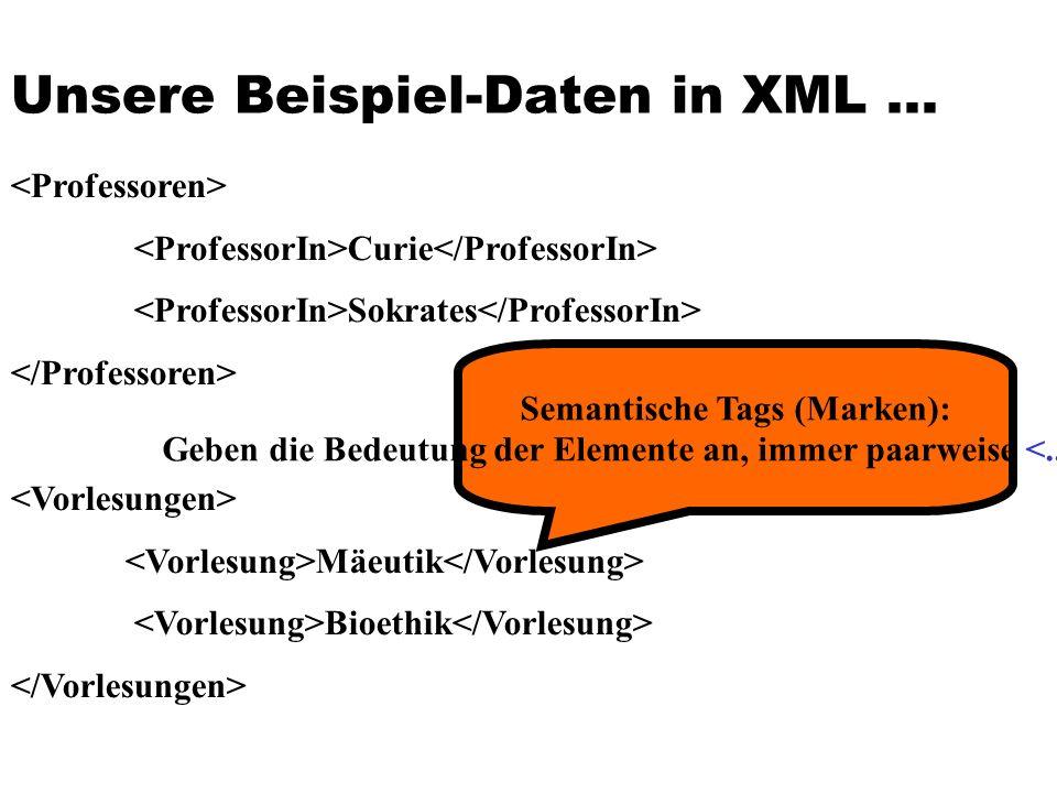 Unsere Beispiel-Daten in XML...
