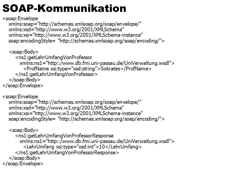 SOAP-Kommunikation <soap:Envelope xmlns:soap= http://schemas.xmlsoap.org/soap/envelope/ xmlns:xsd= http://www.w3.org/2001/XMLSchema xmlns:xsi= http://www.w3.org/2001/XMLSchema-instance soap:encodingStyle= http://schemas.xmlsoap.org/soap/encoding/ > <ns1:getLehrUmfangVonProfessor xmlns:ns1= http::/www.db.fmi.uni-passau.de/UniVerwaltung.wsdl > Sokrates <soap:Envelope xmlns:soap= http://schemas.xmlsoap.org/soap/envelope/ xmlns:xsd= http://www.w3.org/2001/XMLSchema xmlns:xsi= http://www.w3.org/2001/XMLSchema-instance soap:encodingStyle= http://schemas.xmlsoap.org/soap/encoding/ > <ns1:getLehrUmfangVonProfessorResponse xmlns:ns1= http::/www.db.fmi.uni-passau.de/UniVerwaltung.wsdl > 10
